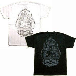画像3: 大日如来 刺青 蓮の胸割 和柄Tシャツ 紅雀ブランドの仏画 (通販 名入れ刺繍可) 和柄服