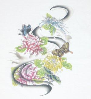 画像1: 紅雀 和柄 菊 蝶 フルカラー プリント Tシャツ 刺青 和彫り デザイン