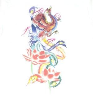 画像1: 紅雀 和柄 鳳凰 蓮 フルカラー プリント Tシャツ 刺青 和彫り デザイン