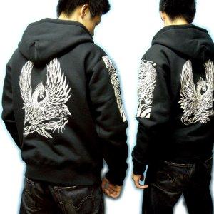 画像5: 龍鳳凰 和柄 パーカー スエット刺青デザインの紅雀(名入れ刺繍可)通販 派手 パーカー 和柄服
