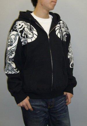 画像4: 鳳凰酉梵字 和柄 パーカー スエット刺青デザインの紅雀(名入れ刺繍可)通販 派手 パーカー 和柄服