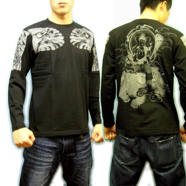 和柄 長袖Tシャツ 着用黒 画像