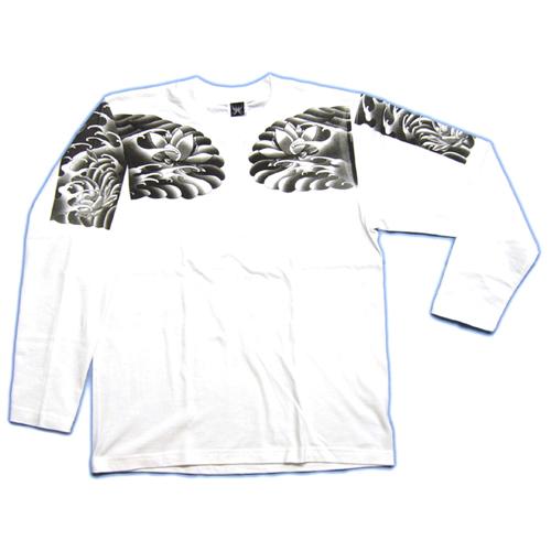和柄 長袖Tシャツ 白前 画像