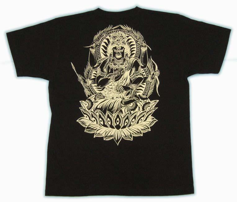 和柄 Tシャツ 黒後 画像