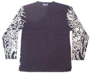 画像1: 和柄 長袖Tシャツ 刺青デザインの紅雀(名入れ刺繍可)通販