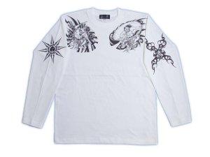 画像1: 風神雷神 和柄 長袖Tシャツ 刺青デザインの紅雀(名入れ刺繍可)通販