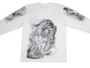 画像2: 唐獅子 と鬼 和柄 長袖Tシャツ 刺青デザインの紅雀(名入れ刺繍可)通販 和柄服