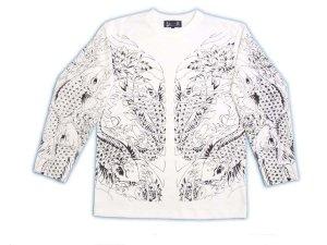 画像1: 鯉 和柄 長袖Tシャツ 刺青デザインの紅雀(名入れ刺繍可)通販ツ