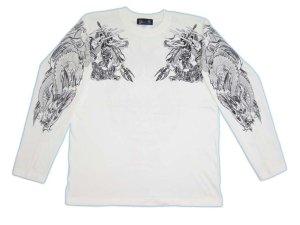 画像1: 騎龍雷神 和柄 長袖Tシャツ 刺青デザインの紅雀(名入れ刺繍可)通販 和柄服