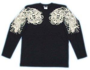 画像2: 舞踊 髑髏 と輪入道 和柄 長袖Tシャツ 刺青デザインの紅雀(名入れ刺繍可)通販 和柄服