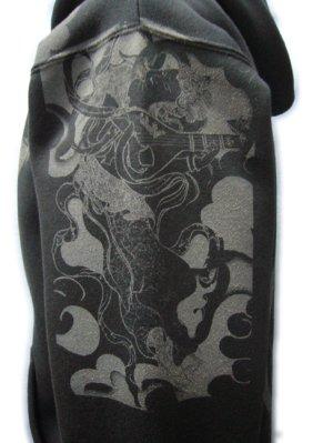 画像4: 虚空蔵菩薩 和柄 パーカー スエット刺青デザインの紅雀(名入れ刺繍可)通販 派手 パーカー 和柄服