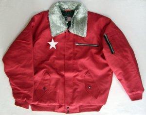 画像1: 赤 ドカジャン パイロット ジャンパー 大きいサイズ 刺繍 入り
