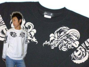 画像1: 龍トライバル 和柄 長袖Tシャツ 刺青デザインの紅雀(名入れ刺繍可)通販