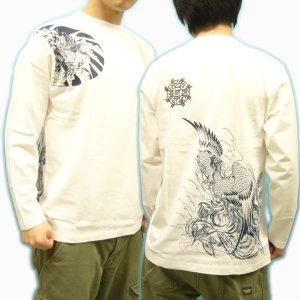 画像2: 鳳凰 刺青 胸割右 背中鳳凰 紅雀ブランド 通販 名入れ刺繍可 (和彫り)  和柄 長袖tシャツ ロンT 和柄服