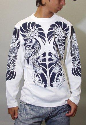 画像4: 鯉 和柄 長袖Tシャツ 刺青デザインの紅雀(名入れ刺繍可)通販