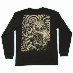 画像3: 和柄ロンT 唐獅子牡丹 (和柄長袖Tシャツ袖口リブ) 和柄服