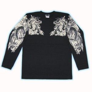 画像3: 雷神 騎龍(胸)背中 龍 宝玉 和柄長袖Tシャツ ブランドは紅雀 通販 (刺青 和彫り デザイン) 和柄服