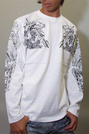 画像2: 騎龍雷神 和柄 長袖Tシャツ 刺青デザインの紅雀(名入れ刺繍可)通販 和柄服