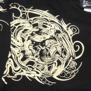 画像3: 舞踊 髑髏 と輪入道 和柄 長袖Tシャツ 刺青デザインの紅雀(名入れ刺繍可)通販 和柄服