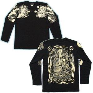 画像4: 酒呑童子(背中)と阿吽鬼(胸) 和柄 長袖Tシャツ (紅雀 通販) 名入れ刺繍可 刺青 和彫り、デザイン ロンT 和柄服