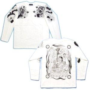 画像5: 酒呑童子(背中)と阿吽鬼(胸) 和柄 長袖Tシャツ (紅雀 通販) 名入れ刺繍可 刺青 和彫り、デザイン ロンT 和柄服