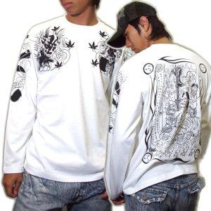 画像3: 酒呑童子(背中)と阿吽鬼(胸) 和柄 長袖Tシャツ (紅雀 通販) 名入れ刺繍可 刺青 和彫り、デザイン ロンT 和柄服