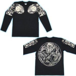 画像4: 胸割巴龍、背中火龍 巴/ 和柄長袖Tシャツ 通販 (名入れ刺繍) 刺青 和彫り 紅雀デザイン ロンT 和柄服
