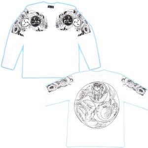 画像5: 胸割巴龍、背中火龍 巴/ 和柄長袖Tシャツ 通販 (名入れ刺繍) 刺青 和彫り 紅雀デザイン ロンT 和柄服