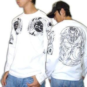 画像3: 胸割巴龍、背中火龍 巴/ 和柄長袖Tシャツ 通販 (名入れ刺繍) 刺青 和彫り 紅雀デザイン ロンT 和柄服