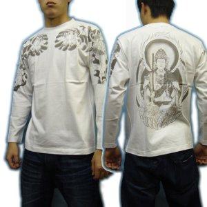 画像3: 虚空蔵菩薩 刺青風 仏像画 和柄長袖Tシャツ 「紅雀」 通販 名入れ刺繍可 胸割和彫り 蓮デザイン 和柄服