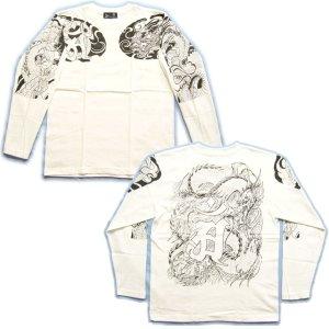 画像5: 龍 辰 梵字 の胸割 刺青 長袖tシャツ 紅雀 和彫り デザイン 和柄Tシャツ 通販 名入れ刺繍対応 和柄服