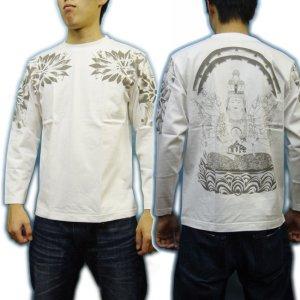 画像3: 千手観音 刺青 胸割 和柄 長袖Tシャツ 紅雀仏像画 通販 名入れ刺繍可 和彫り (十一面観音) 和柄服