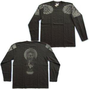 画像4: 勢至菩薩 立像の仏像画 和柄 長袖Tシャツ 紅雀ブランド通販 名入れ刺繍可 胸割 刺青 和彫り 和柄服