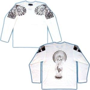 画像5: 勢至菩薩 立像の仏像画 和柄 長袖Tシャツ 紅雀ブランド通販 名入れ刺繍可 胸割 刺青 和彫り 和柄服