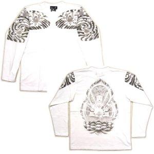 画像5: 大日如来 刺青 蓮の胸割 和柄長袖Tシャツ 紅雀ブランドの仏画 (通販 名入れ刺繍可) 和柄服