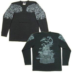 画像4: 不動明王 鳳凰 刺青 の仏像画 和柄 長袖Tシャツ 紅雀の通販 名入れ刺繍可 (五大明王) 和柄服