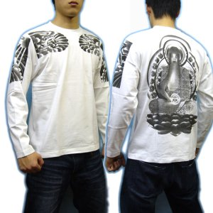 画像3: 阿弥陀如来 刺青 の仏像画 和柄 長袖tシャツ 紅雀通販 名前刺繍可 和彫り デザイン 和柄服