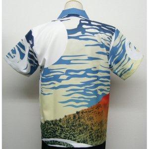 画像2: 浮世絵 アロハ 北斎 赤富士 昇華プリント 半袖ポリエステル 3週間生産 アロハシャツ 派手 和柄服