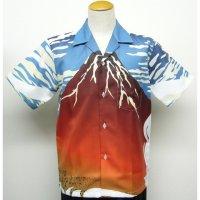 浮世絵 アロハ 北斎 赤富士 昇華プリント 半袖ポリエステル 3週間生産 アロハシャツ 派手 和柄服