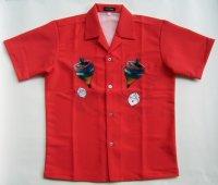 ウサギ アロハシャツ 赤  駒 サイコロ キノコ ラビット 大きいサイズ 3L 4L 5L