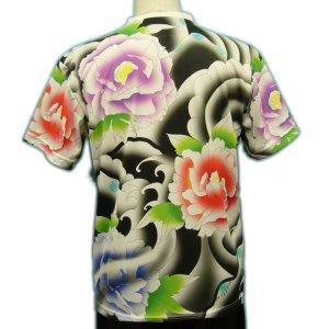 画像2: ドライ Tシャツ 和柄 みきりフルカラー総柄プリント/メンズ和柄 Tシャツ/半袖牡丹のタトゥーTシャツ(通販) 刺青 和彫り デザイン 和柄服