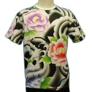 画像1: ドライ Tシャツ 和柄 みきりフルカラー総柄プリント/メンズ和柄 Tシャツ/半袖牡丹のタトゥーTシャツ(通販) 刺青 和彫り デザイン 和柄服