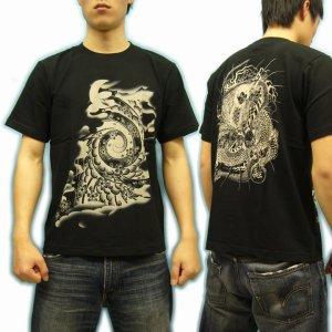画像2: 桜吹雪と竜王太郎の和柄Tシャツ通販