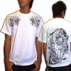 画像3: 唐獅子胸割聖獣 和柄 Tシャツ 和柄 紅雀 通販 名入れ刺繍可 刺青 和彫り デザイン 和柄服
