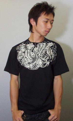 画像2: 紅雀 和柄 【鳳凰 と菊】 聖獣 Tシャツ 刺青 和彫り デザイン