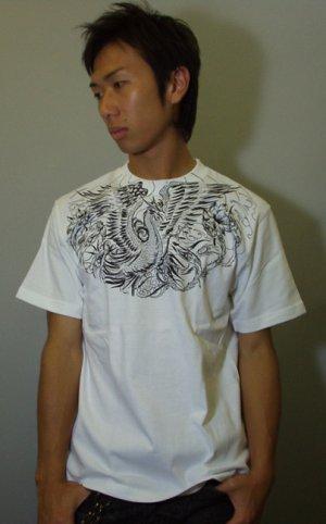 画像4: 紅雀 和柄 【鳳凰 と菊】 聖獣 Tシャツ 刺青 和彫り デザイン