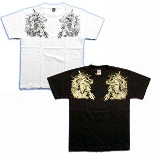 画像2: 雷神騎龍和柄Tシャツ通販