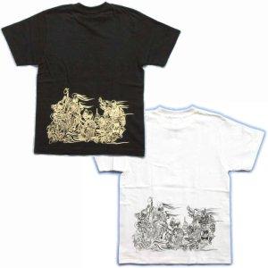 画像5: 輪入道胸割と腰に宴髑髏 和柄 Tシャツ 紅雀 通販 名入れ刺繍可 刺青 和彫り デザイン 和柄服