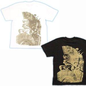 画像3: 紅雀 和柄 【舞い髑髏】妖怪 Tシャツ(名入れ刺繍可)通販 刺青 和彫り デザイン