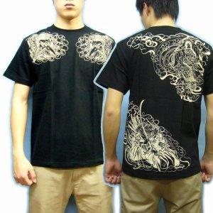 画像4: 紅雀 和柄 【牛若丸と弁慶】 武将 Tシャツ (名入れ刺繍可)通販 刺青 和彫り デザイン